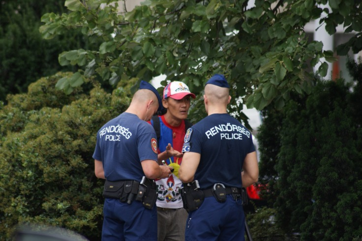 Budapest Police with Free Tibet campaigner