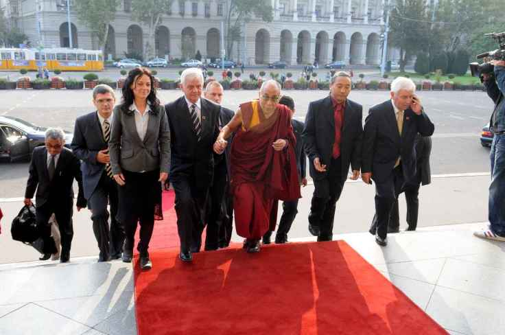 Deputy head of Hungarian parliament's human rights committee Ms.Timea Szabo welcomes Dalai Lama during His visit to Budapest, 2010